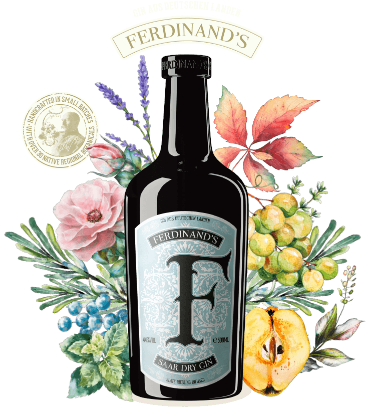 Bottle of the Gin with botanicals and handcrafted signet with district forester Geltz-Zilliken